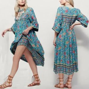 The Indian Paintbrush Turquoise Peasant Dress